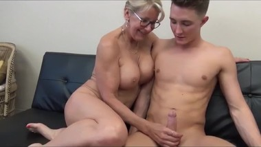 Stepson with very big cock fucks hard his gorgeous mature stepmom