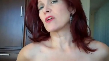 Mature redhead stepmom gets amazing creampie from her stepson