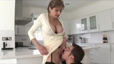Naughty mature stepmom having a real orgasm with her stepson
