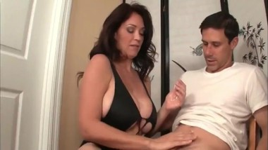 Angry mature american milf jerking off her stepson's big dick