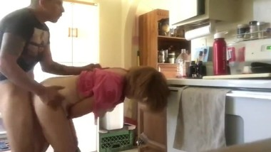 Son fucks hard his mature stepmother in kitchen