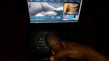 Jerking off to my slut ebony step sister's erotic sex video