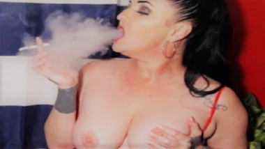 Busty Milf Smoking Virginia Slims 120s Matches Using Hand As Ashtray
