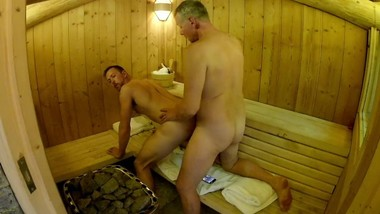 Mature Daddy Breeds Boy in Public Sauna -- Older Younger Bareback Fuck