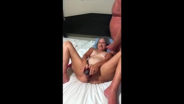 Hot Milf Spreads Wide Takes Three Dildos And Hubby Cums On Her Tits Mature