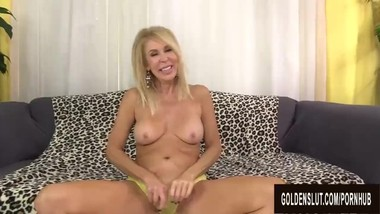 Smiley Grandma Erica Lauren Slides Her Aged Pussy up and down a Long Cock