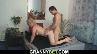 Lonely 60 years old blonde gets doggy-fucked by stranger
