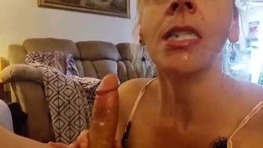 Blonde Milf Mom catches step Son Jerking Makes him Cum in her Mouth TABOO